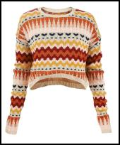 Orange & Gold Ribbon Zig Zag Sweater Aztec Cropped Jumper.