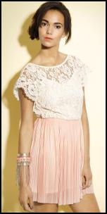 Miss Selfridge Ivory Lace & Peach Pleat Skirt Dress.