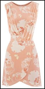 Oasis Peach Print Pleat Wrap Dress.