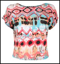 Pink & Blues Tribal Aztec Diamond Lozenge Print Top in Multi Colour.