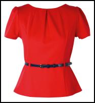 Savida - Curved Peplum Red Top Dunnes Store.