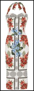 River Island SS12 Tropical Flower Fifties Tie Halter Neck Dress.