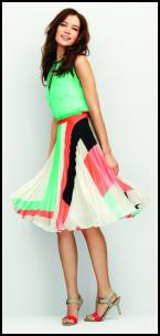 Wallis Colour Block Pleated Skirt, Green Top.