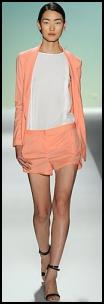 Tibi Catwalk - Orange Peach Shorts/Jacket.