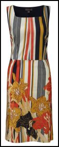 Hot Trend - Sunset Pencil Dress - Tropical Tribal Orange Gold Print.