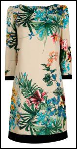 Tropical Leaves Border Print Dress.
