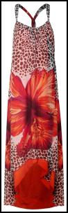 Tropical Red Flower Animal Print Maxi Dress.
