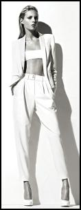 Anthony Vaccarello White Jacket, Bust Band & Pants.