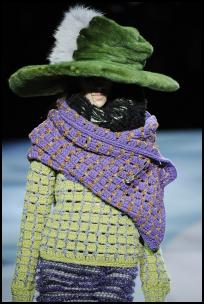Marc Jacobs Knitwear, Wrap and Floppy Hat.
