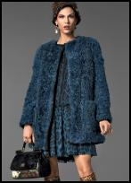 Dolce & Gabbanna Teal Blue Fur Coat