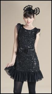 Frill Hem Beaded & Satin Bow Black Dress.