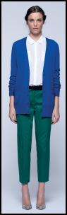 Blue Cardigan & Green Trousers From John Lewis.
