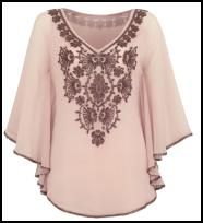 Monsoon  Kaftan Top in Rose Smoke With French Roast Beading.