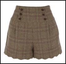 Scallop Check Shorts By Oasis.