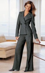 Trouser suit from NEXT directory. Grey herringbone jacket �59.99 sizes 6 -22, Grey herringbone trousers �39.99 sizes 6-20R/8-20L/8-18XL, Grey contrast stitch boots �74.99 sizes 35.5 - 42