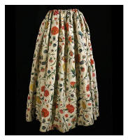 Vintagetextile.com French Crewel Embroidered Linen Skirt, c.1790.