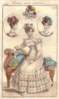 Apollo knot hairstyle detail on 1826 Le Journal des Dames et Des Modes