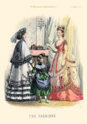 The Englishwoman's Domestic Magazine Fashions 1869 - Coral and cream soft bustle evening dress.