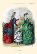 The Englishwoman's Domestic Magazine Fashions 1869 - Emerald soft tiered early bustle dress