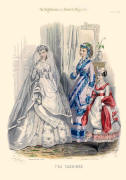 The Englishwoman's Domestic Magazine Fashions 1869 - Soft bustle wedding dress and smart day gown.