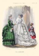 The Englishwoman's Domestic Magazine Fashions 1869 - Soft bustle wedding gown and emerald green with black day dress.