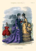 The Englishwoman's Domestic Magazine Fashions 1869 - Purple and black trimmed gown beside gold and black trimmed soft bustle dress.