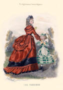 The Englishwoman's Domestic Magazine Fashions 1869 - Red and black trimmed soft bustle dress.