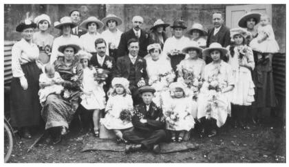 1920s Wedding Photo of Large Group - The Bridal Party 1921