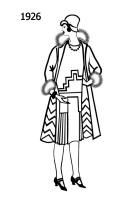 Silhouette line drawing of at knee coat and dress with art deco styling  - 1926
