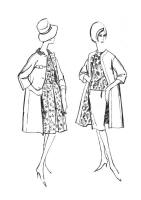 1962 dresses with contrast edge to edge duster coats.
