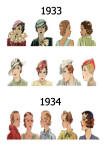 C20th Hair Styles & Hats Images Fashion History 1933-34
