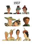 C20th Hair Styles & Hats Images Fashion History 1937