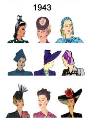 1943 Image of C20th Fashion History Hair and Hat Styles