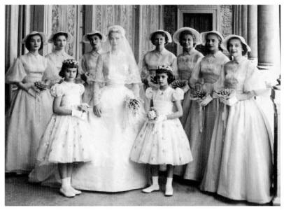 Bridesmaids wearing their special dresses