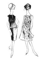1962 Two piece outfits -  overblouses with matching skirts.
