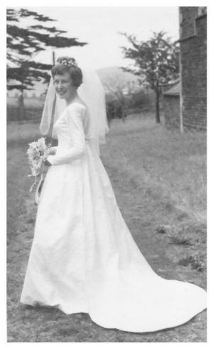 1963 Carole in her wedding gown in 1963. Note the lovely wedding train.