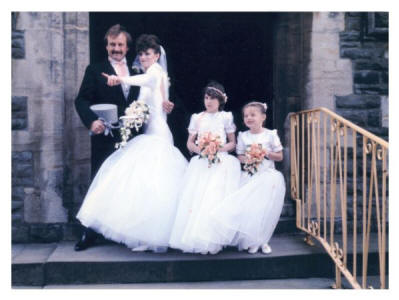 Side view of the 1986 wedding dress.
