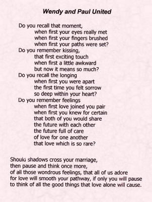 Wedding Verse - Click to enlarge and print off.