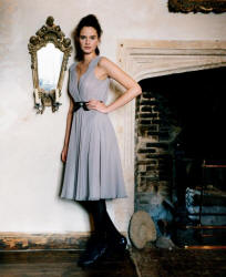 The Laura Ashley pale silver grey dress is subtly understated, yet very glamorous with its cinched in waist.