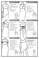 diagram Sheet explaining how to wear the garment 6 different ways.