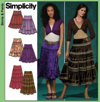Simplicity pattern 4331 - tiered gypsy boho peasant skirt.