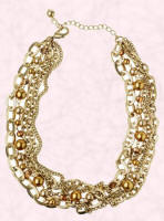 Gold Calow & pearl multi chain necklace