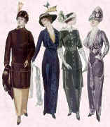 Picture of 4 ladies in slimmer Edwardian fashions.