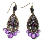Cute little drop earrings with hanging purple and deep red Swarovski crystals and glass bead leaves