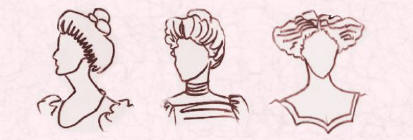 Sketches of  Edwardian hairstyles Fashion history.