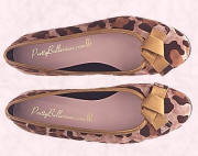 Audrey leopard suede animal print ballerina shoes with gold bows from prettyballerinas.com