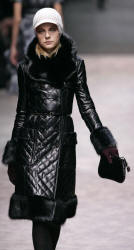 Burberry Prorsum - Quilted leather coat with black fox collar, cuffs and border