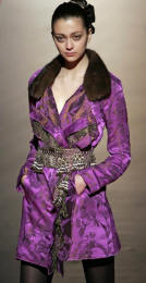 Christian Lacroix silk jacquard jacket with mink collar.