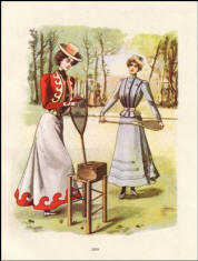 This fashion plate is dated 1895 and was typical 'sporty' dress for tennis.