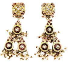 Gold with black or deepest wine red enamel Lac jewellery earrings are from Venkatraman Jewels of Jaipur in India.